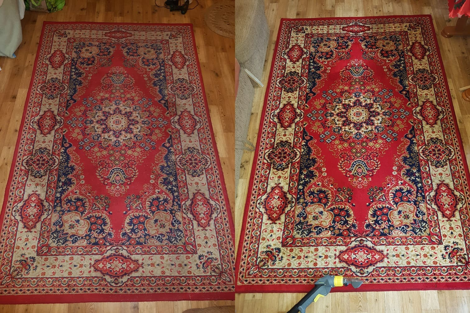 Pranie ekstrakcyjne dywanu efekt przed i po