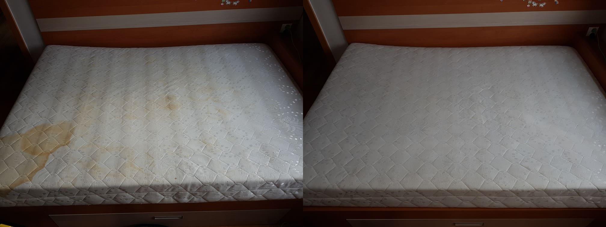 Różnica między brudnym a czystem materacem