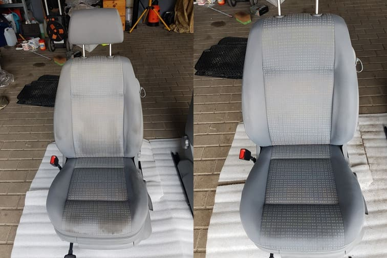 Porównanie brudnego i czystego fotela samochodowego - Kościan